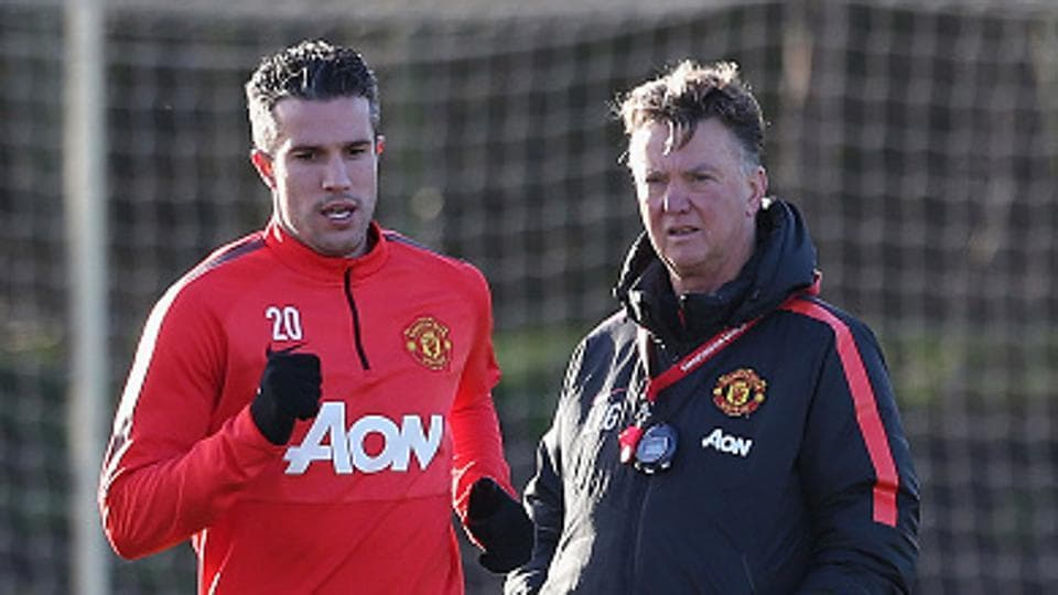 FIle Photo of Robin van Persie and Manager Louis van Gaal of Manchester United