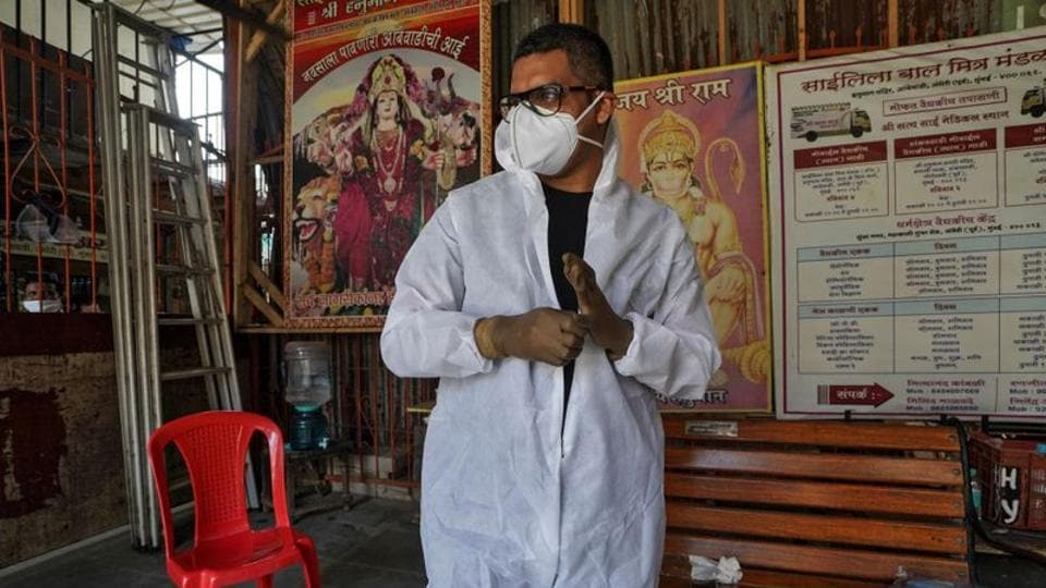 Sanjay Meriya, 30, also known as the Spindoctor, wearing a protective gear.