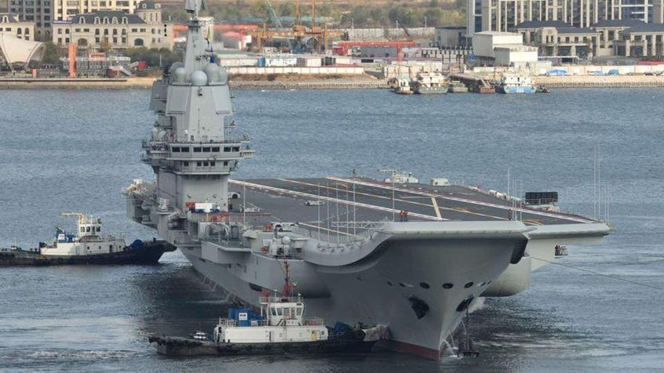 The sea trials for aircraft carrier Shandong, which was commissioned by President Xi Jinping, underscores China's rapid rise as a naval power. (Getty images)