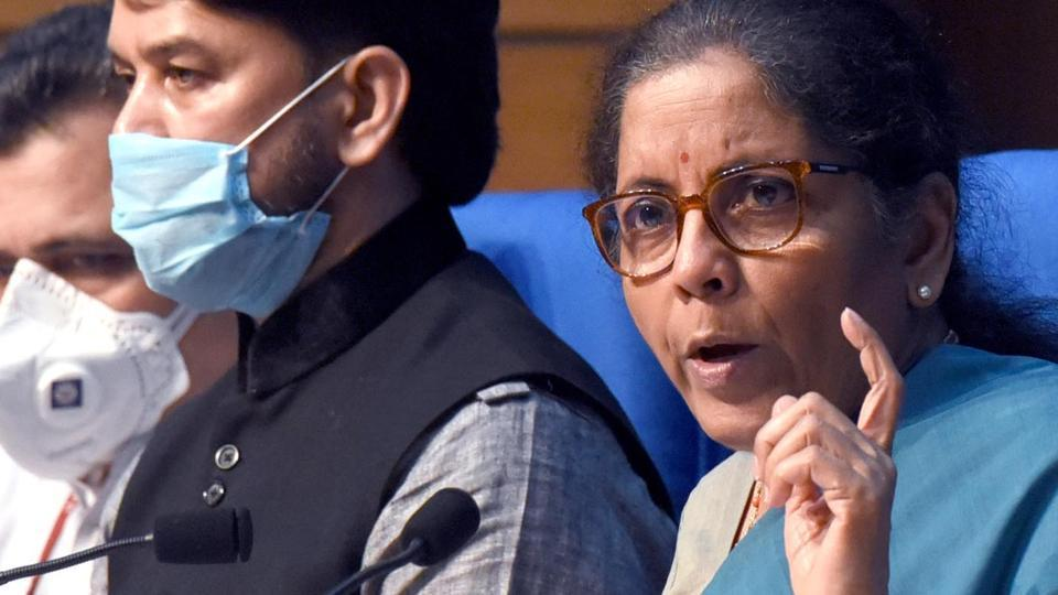Union Finance Minister Nirmala Sitharaman addresses the media during the fifth and final briefing on Centre's economic stimulus package, in National Media Center, New Delhi.
