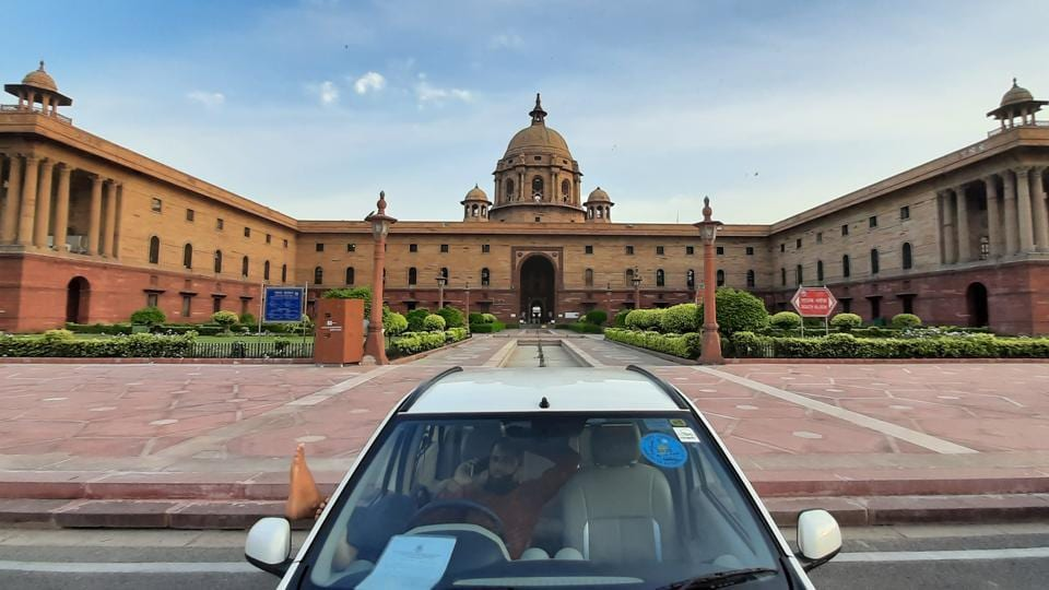 A deserted view of South Block during lockdown to curb the spread of coronavirus, in New Delhi.