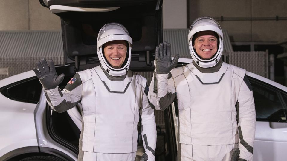 File photo  of astronauts Doug Hurley, left, and Robert Behnken