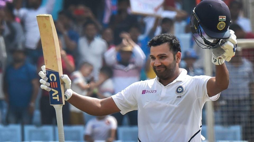 Rohit Sharma celebrates his maiden Test century as opener last year.