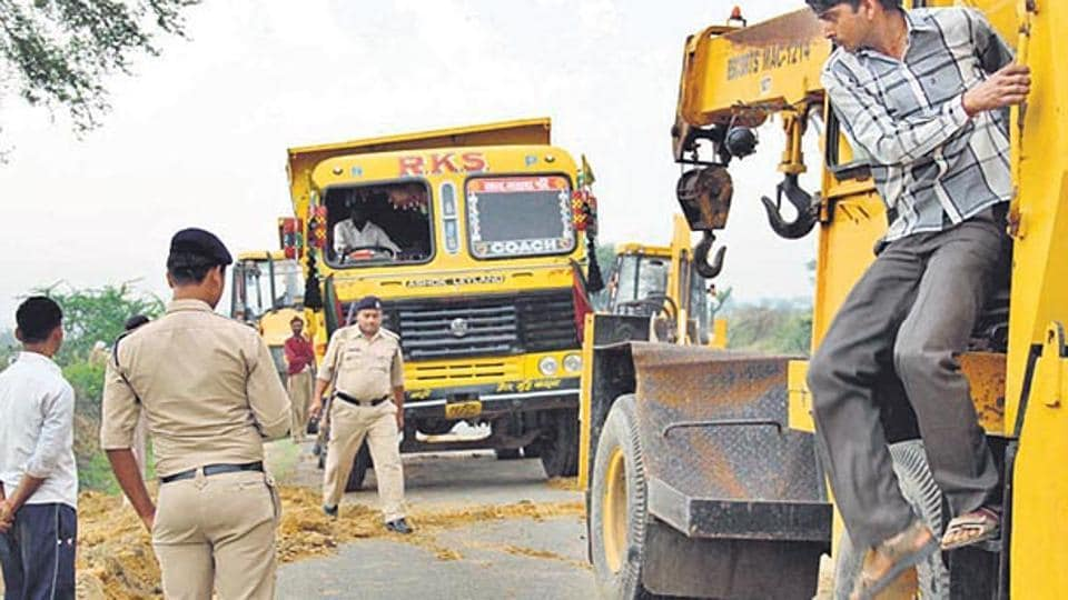Several equipment used by the sand mafia were seized in police operations conducted recently.