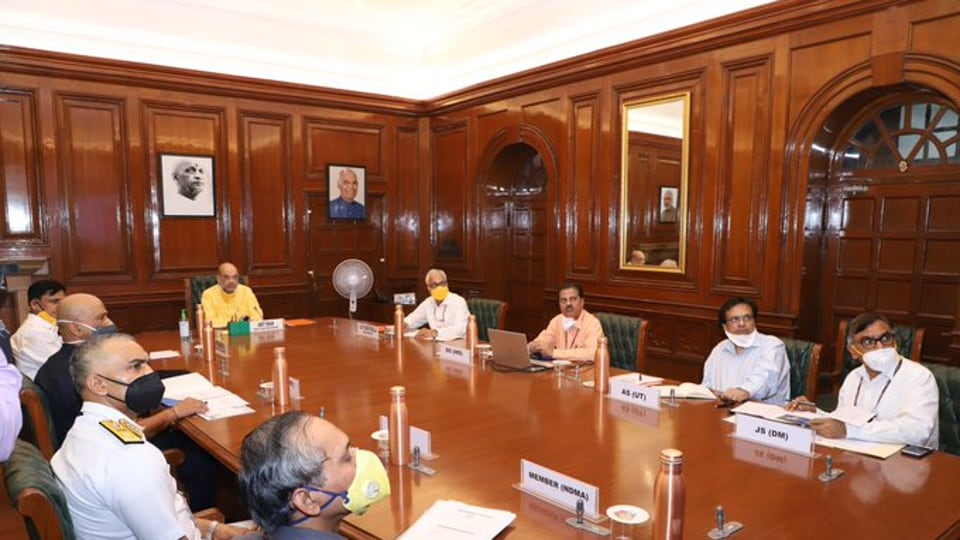 Home Minister Amit Shah held a review meeting on preparedness for dealing with the cyclone brewing in Arabian Sea, Monday, June1, 2020.