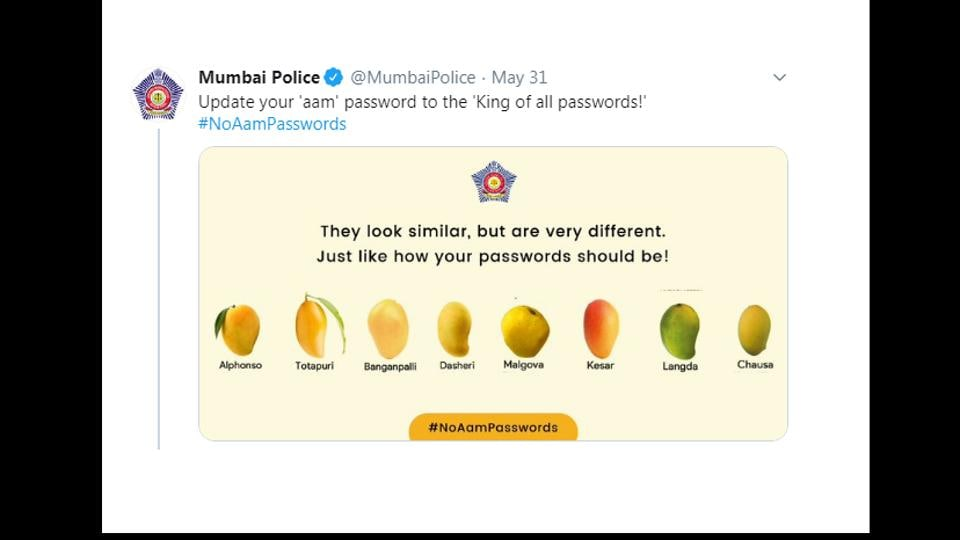 Mumbai Police addressed the problems of cyber security caused by keeping the same password.