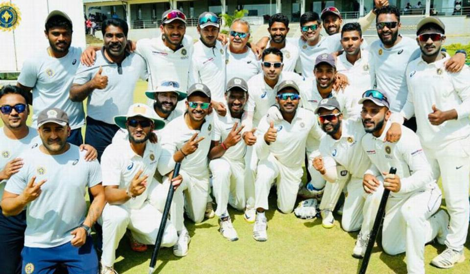 The Kerala cricket team after entering their maiden Ranji Trophy semifinal