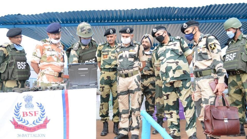 Director general BSF SS Deswal accompanied by additional DG S Panwar, IG BSF Jammu frontier NS Jamwal and other officers.