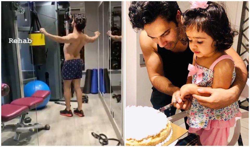 Varun Dhawan shared a video of himself sweating it out in his home gym.
