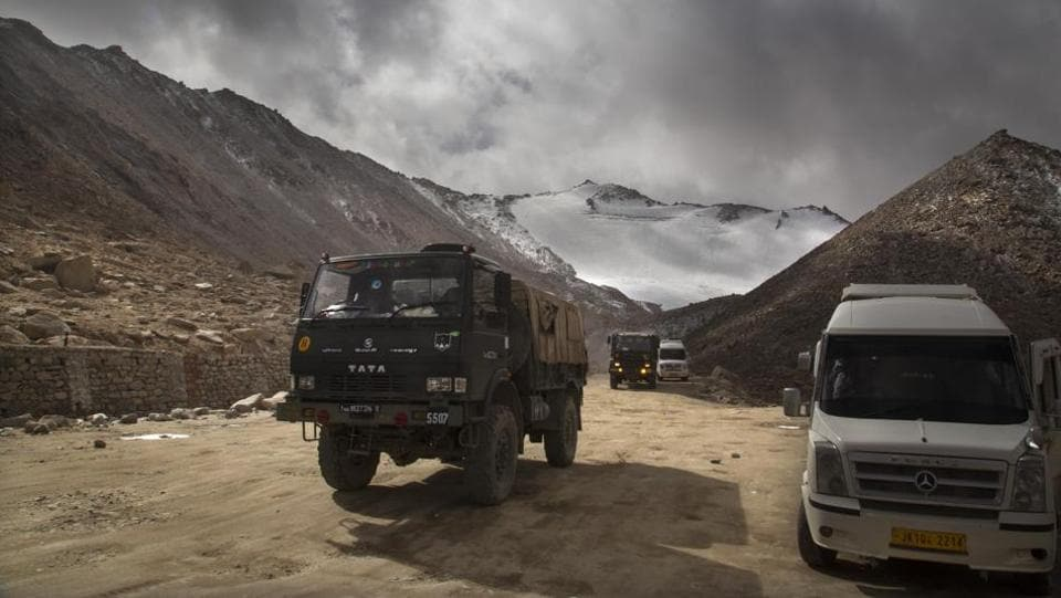An Indian Army truck crosses Chang la pass near Pangong Lake in Ladakh where Indian and Chinese troops are in a stand-off.