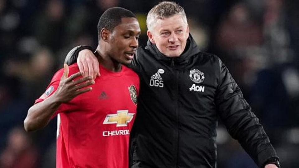Manchester United manager Ole Gunnar Solskjaer celebrates with Odion Ighalo.
