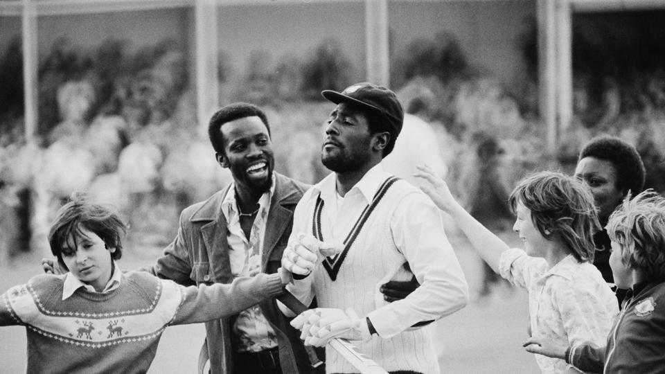 West Indies cricketer Viv Richards is greeted by fans after the 1st Test Match, West Indies tour of England at Trent Bridge, Nottingham, UK, 3rd June 1976.