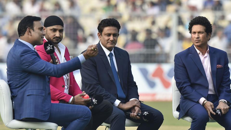Former cricketers Sachin Tendulkar, Anil Kumble, Harbhajan Singh and VVS Laxman