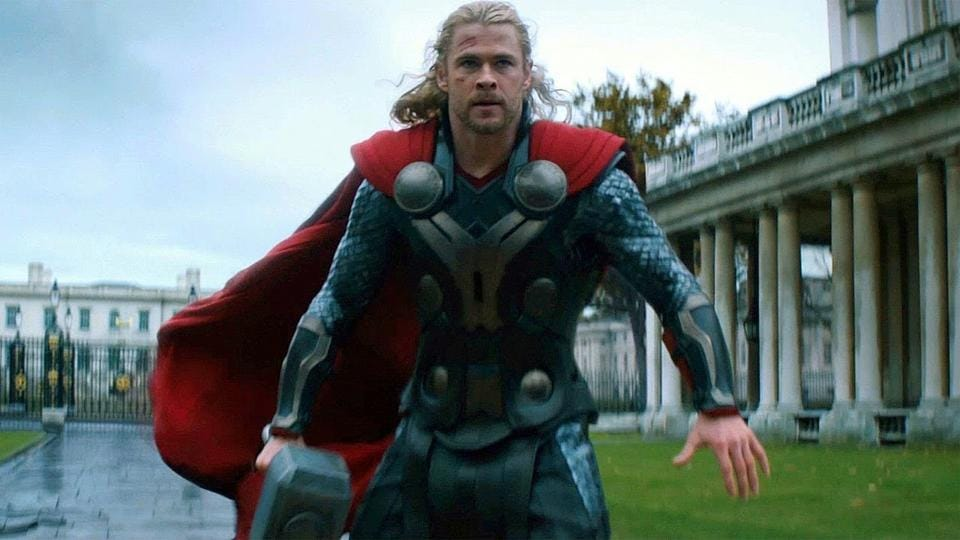 Chris Hemsworth as Thor in a still from Thor: The Dark World.