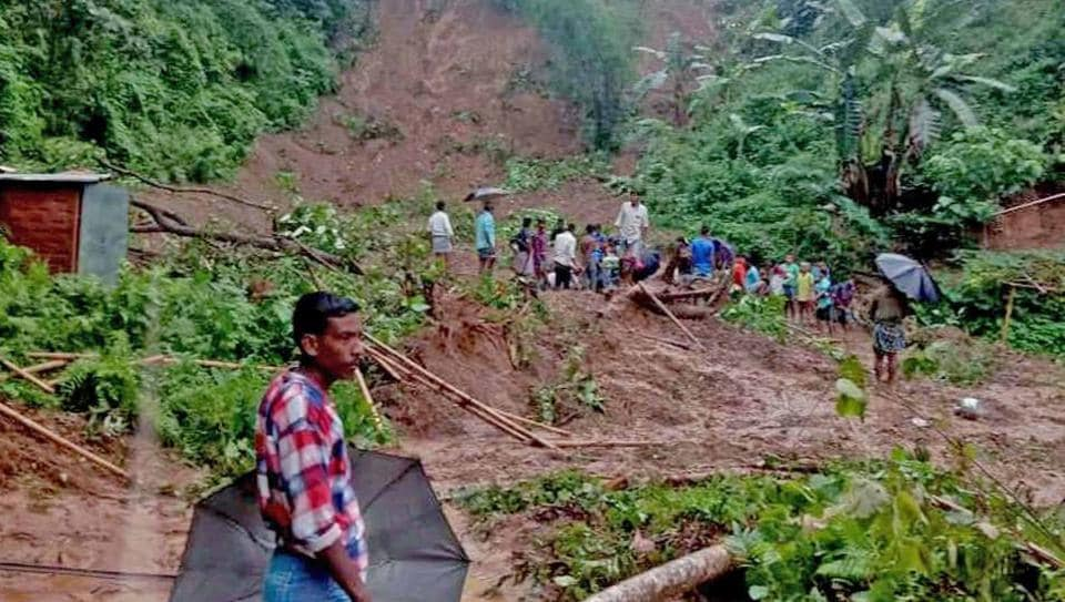 A landslide occurred at Karimganj leading to the death of at least six people in Assam on Tuesday. (ANI Photo)