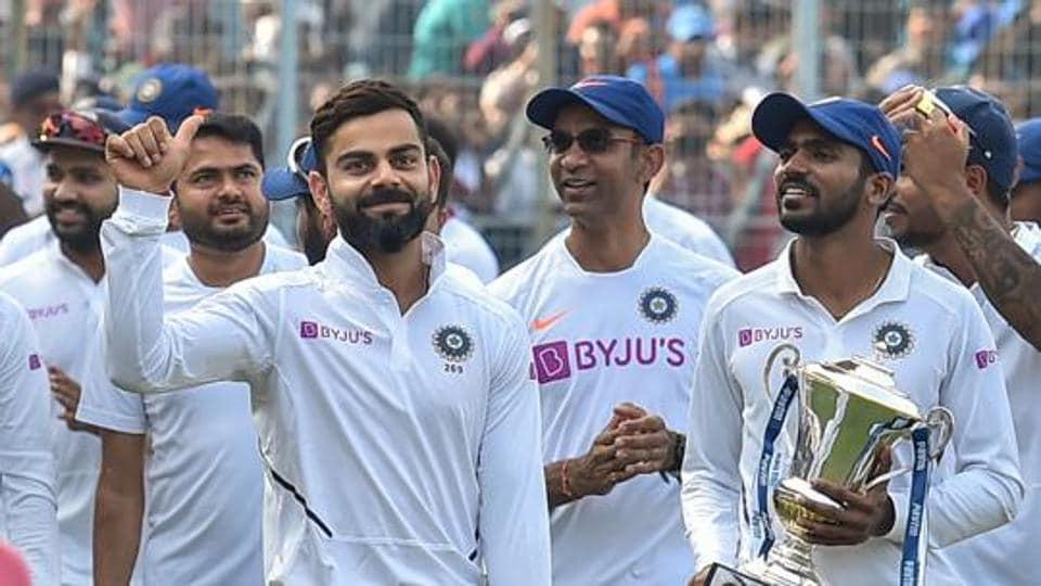 Kolkata: Indian team captain Virat Kohli gives a thumbs up to cheering fans after winning the day-night Test series against Bangladesh, at Eden Gardens in Kolkata, Sunday, Nov. 24, 2019.