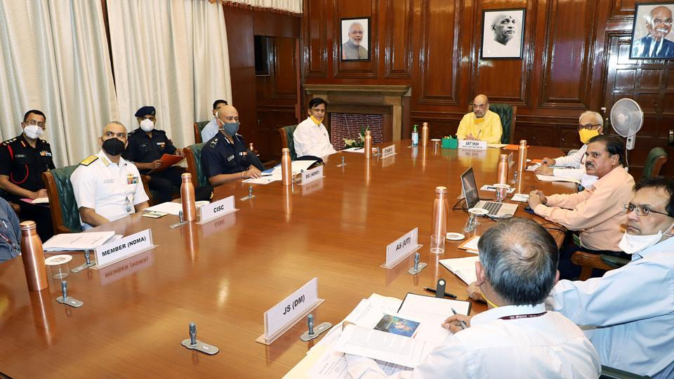 Union Home Minister Amit Shah chairs a meeting of the National Crisis Management Committee (NCMC) to review the preparedness ahead of Cyclone Nisarga, in New Delhi on Monday.