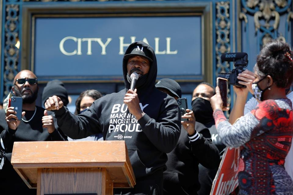 Actor and activist Jamie Foxx speaks during a rally against the death in Minneapolis police custody of George Floyd, in San Francisco California, U.S. June 1, 2020. REUTERS/Stephen Lam