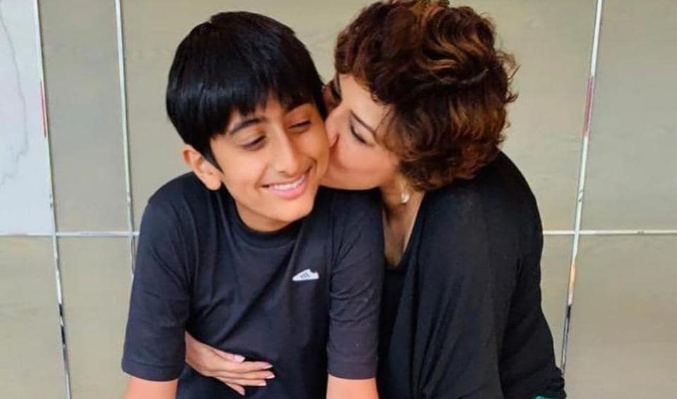 Sonali Bendre with her 14-year-old son Ranveer Behl.