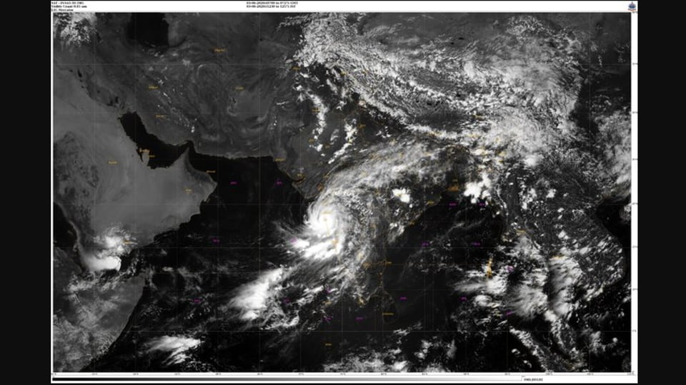 Satellite image of Cyclone Nisarga tweeted by India Meteorological Department.