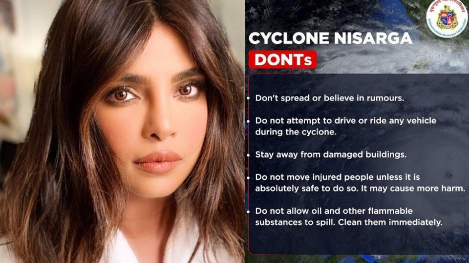 Priyanka wasn't the only celebrity to share safety guidelines in regards to the cyclone, Akshay Kumar, Raveena Tandon, Hardik Pandya, among other Bollywood celebrities also shared the list of Dos and Don'ts shared by the Brihanmumbai Municipal Corporation (BMC).