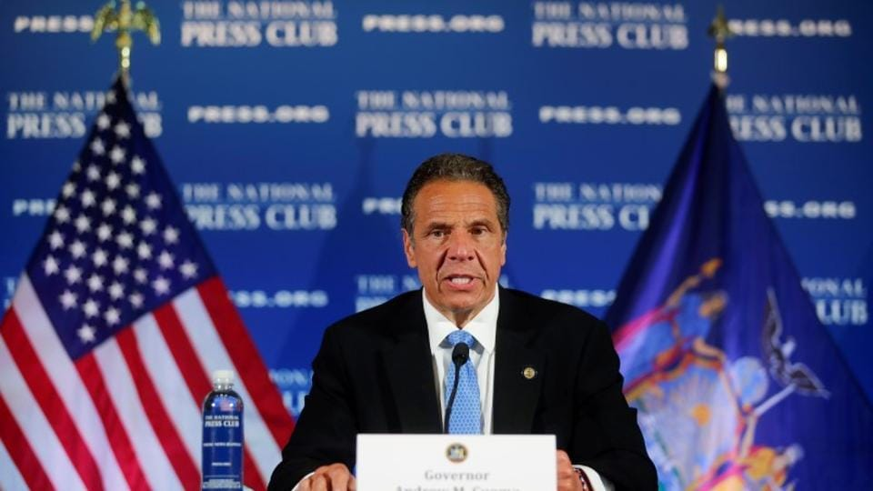 New York Governor Andrew Cuomo addresses a briefing on the coronavirus disease response at the National Press Club following his meeting with US President Trump in Washington.