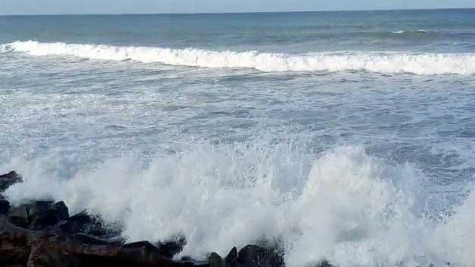High tide at Dwarka Gomti Ghat ahead of cyclone 'Nisarga' landfall, on Tuesday.