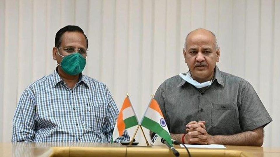 Delhi's Deputy Chief Minister Manish Sisodia and health minister Satyendar Jain.