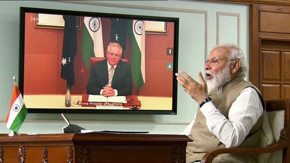 Prime Minister Narendra Modi speaks during first ever 'India-Australia Virtual Summit' with Australia PM Scott Morrison, via video conference in New Delhi.