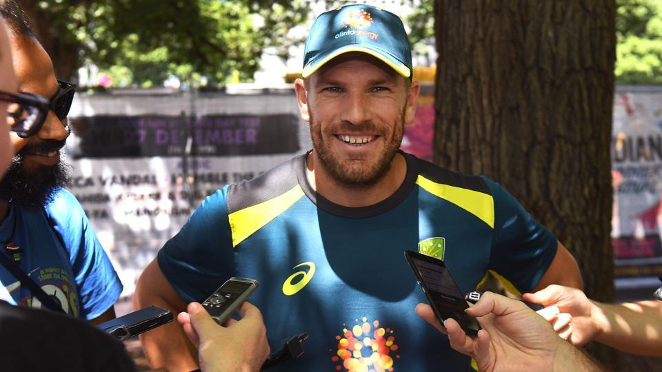 Australia's batsman Aaron Finch speaks to the media during a meet the fans event in Melbourne on December 23, 2018, ahead of the third cricket Test match against India.