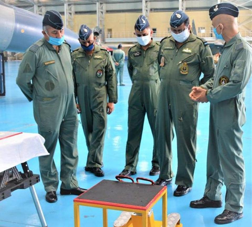 Air Marshal B Suresh (second from right), Air Officer Commanding in Chief (AOC-in-C), Western Air Command, at the Air Force Station, Halwara, in Ludhiana on Wednesday.