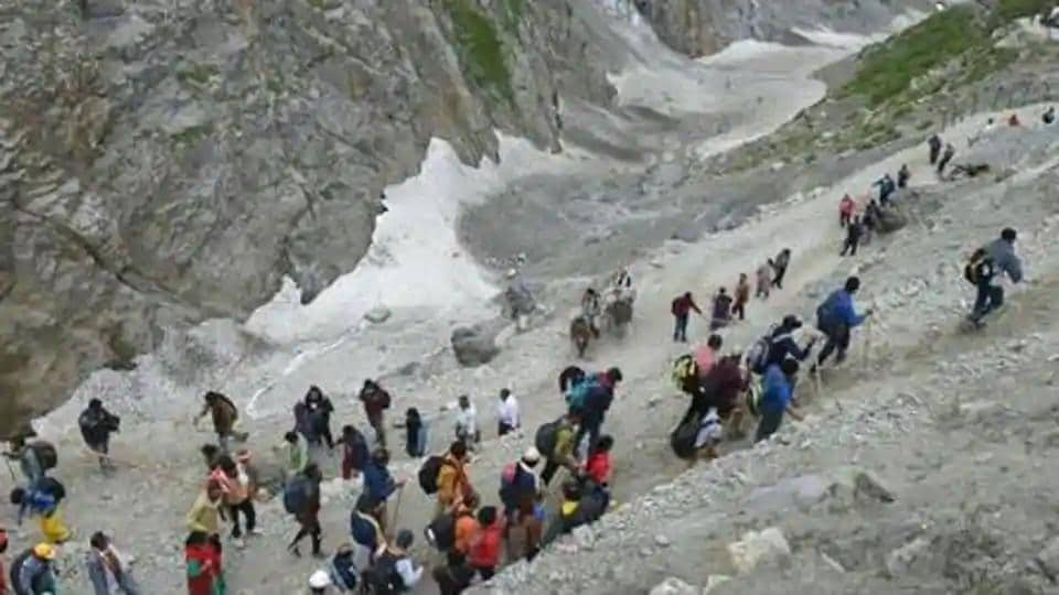 Devotees during their pilgrimage to the holy cave shrine of Amarnath, in Baltal, Jammu and Kashmir in July 2019.