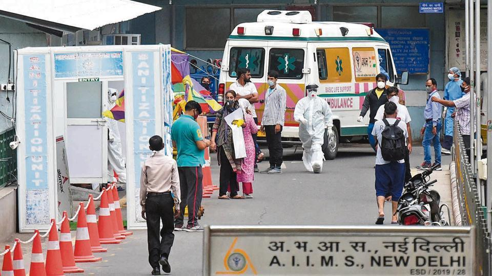 People arrive outside the emergency ward at AIIMS on Thursday.