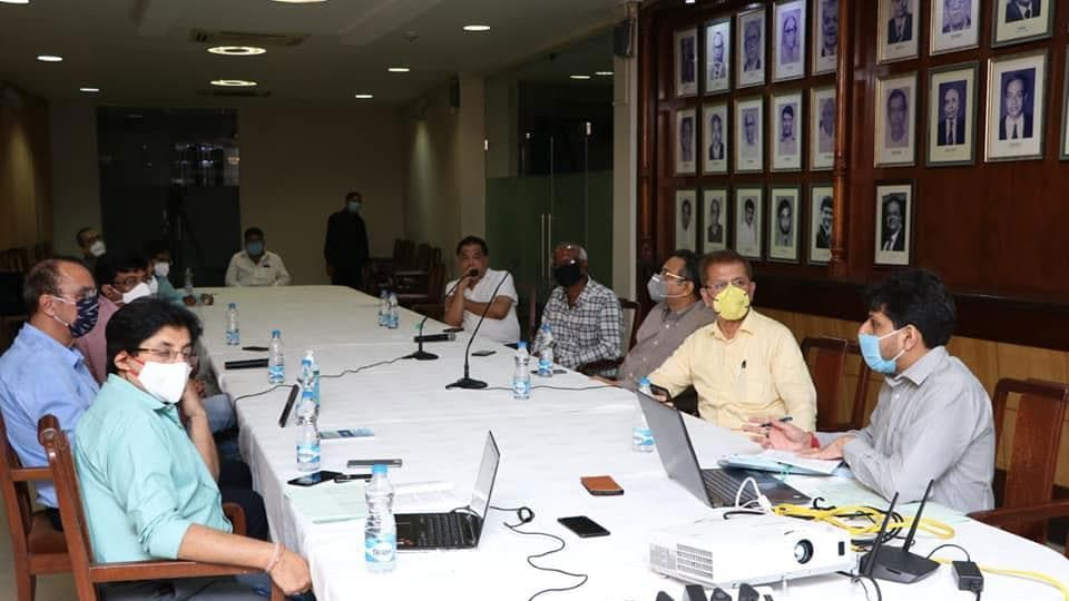 Members of the Cricket Association of Bengal during a meeting on Friday