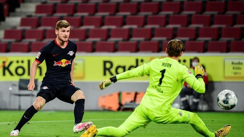 Soccer Football - Bundesliga - FC Cologne v RB Leipzig - RheinEnergieStadion, Cologne, Germany - June 1, 2020 RB Leipzig's Timo Werner scores their third goal, as play resumes behind closed doors following the outbreak of the coronavirus disease (COVID-19) Ina Fassbender/Pool via REUTERS