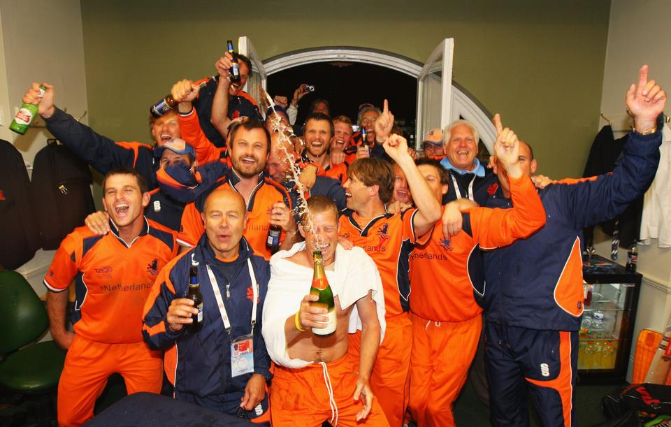 LONDON - JUNE 05: The Dutch team celebrate in the changing room after the ICC World Twenty20 Group B match between England and the Netherlands at Lord's on June 5, 2009 in London, England. (Photo by Tom Shaw/Getty Images)