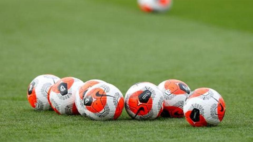 General view of match balls on the pitch before the match.