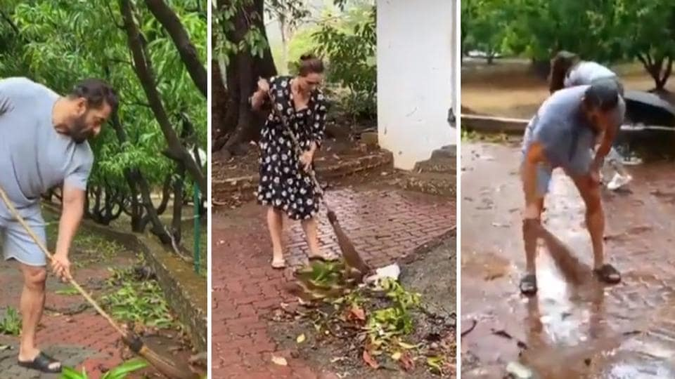 Salman Khan shared a video where his staff and the actor are seen cleaning his farmhouse. Iulia Vantur is also seen in the video.