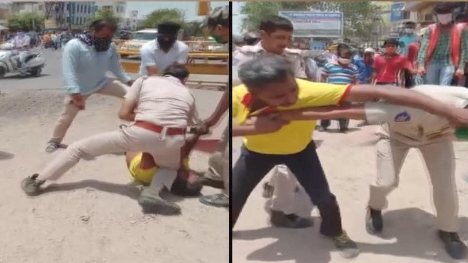 The video of an incident involving a Jodhpur cop trying to contain an accused has gone viral on social media.