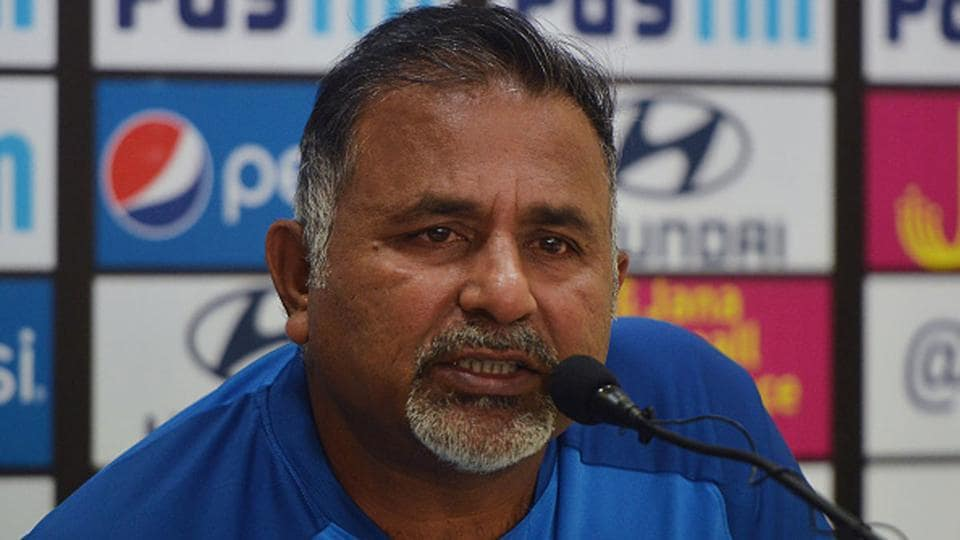 India's bowling coach Bharat Arun during a press conference.