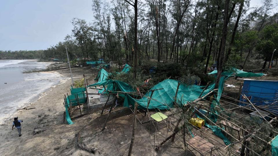 Food stalls and the big trees are damage at Kashid beach after Cyclone Nisarga battered the in Raigad district