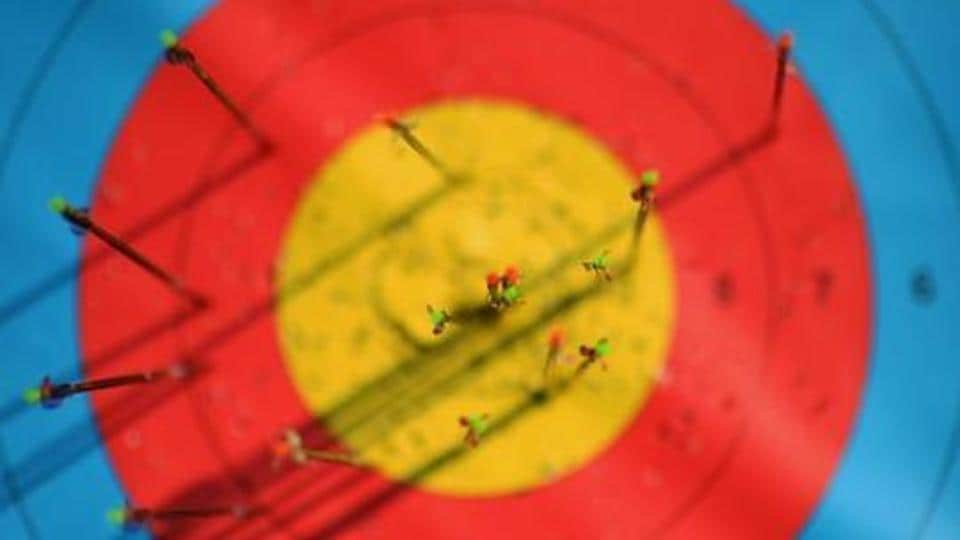 A detail view of arrows in the target at seen during a training session