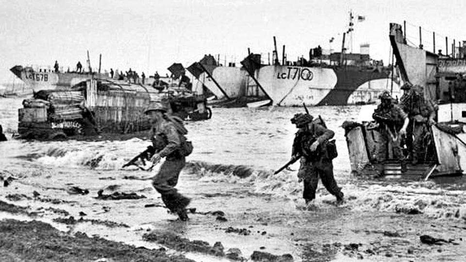 British commandos on Jig Green beach during the invasion of Normandy in France on June 6, 1944.
