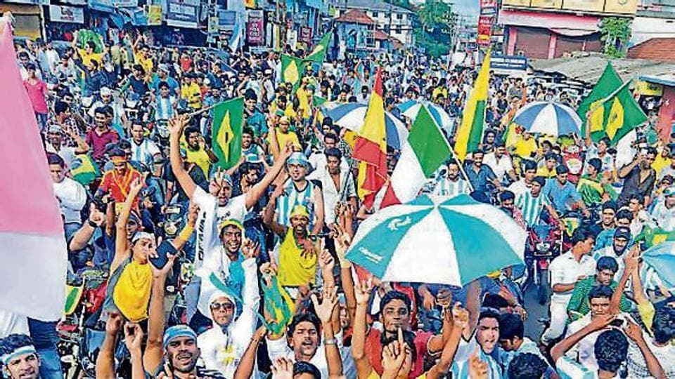 A roadshow in Malappuram heralding the start of the FIFA World Cup in Brazil in June 2014. Fandom doesn't just unite; it also teaches us to accept when we're beaten, be okay with not always winning, but have the resilience to keep fighting back.