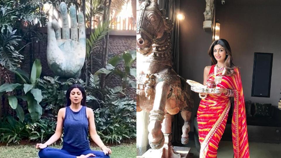 Shilpa Shetty practising yoga in her garden and posing alongside a horse statue inside her house.