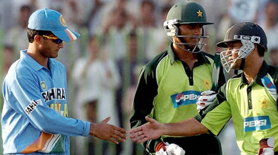 Sourav Ganguly in a match against Pakistan.