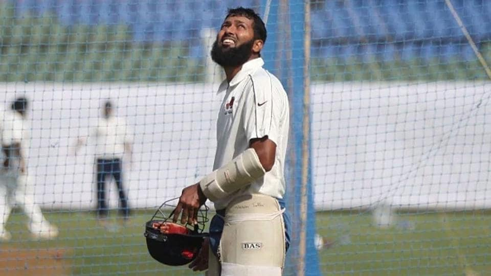Wasim Jaffer during a nets session