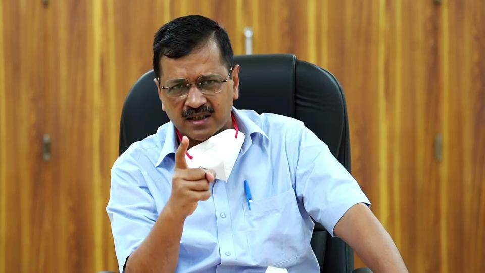 Delhi Chief Minister Arvind Kejriwal speaks at a press conference over COVID19 situation, in New Delhi on Saturday.