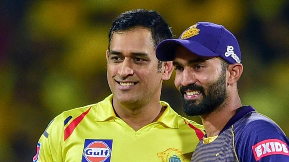 File image of MS Dhoni and Dinesh Karthik.