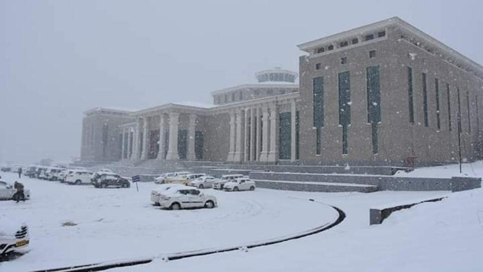 Legislative assembly building of Uttarakhand in Gairsain during winters.